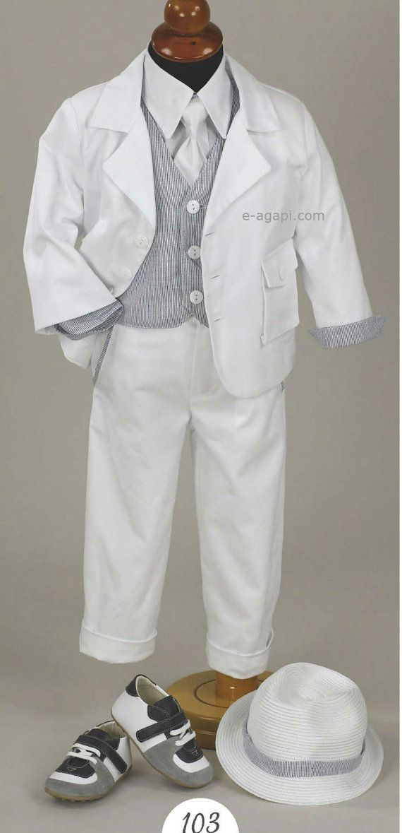 Baby boy baptism outfit SET Boy Christening Costume Greek orthodox White suit Grey Shoes option