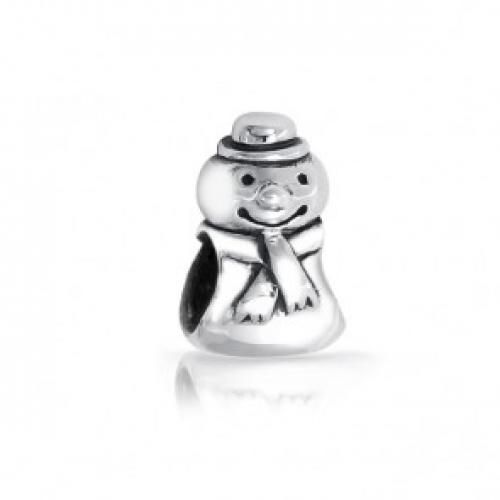 Bling Jewelry Snowman Bead Sterling Silver Barrel Charm Pandora Compatible