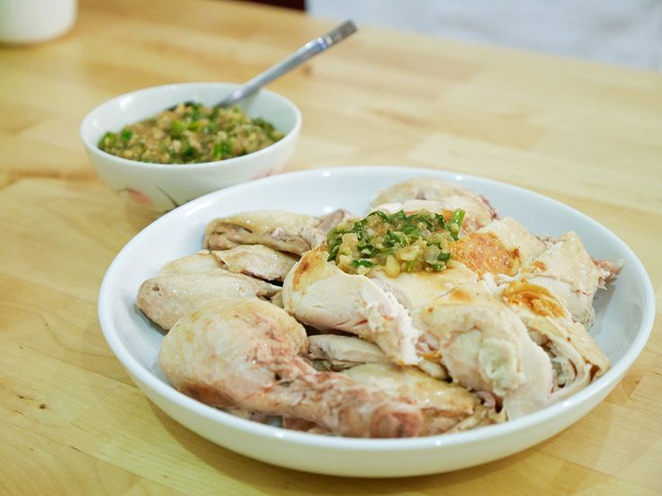 Purple bowl: Oven steamed chicken 白斩鸡 recipe