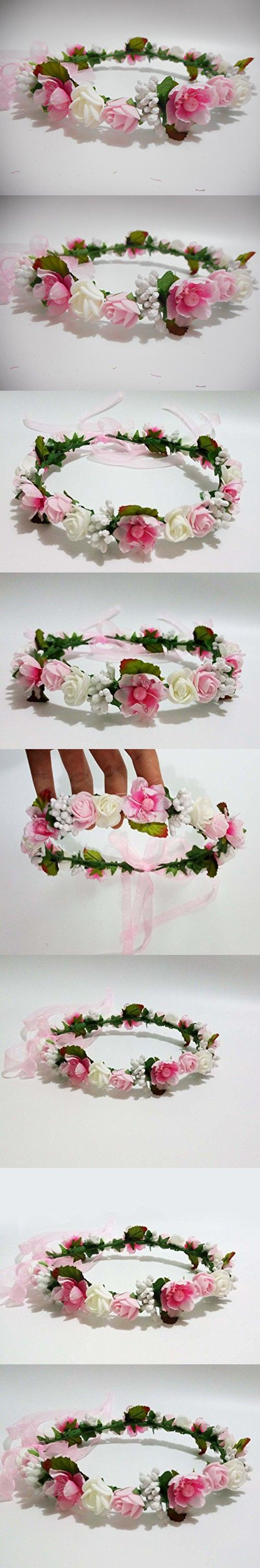 Hippy Decorative PE Foam Rose Flower Girl Crown Flowers Headband Wreath Garland Floral Headpieces Hippie Wedding Hair Band Piece Accessories for Brides Pink and White