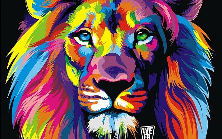 Multicolored Lion Head Wallpaper Colorful Abstract Multi Colored Hd Wallpaper Colorful Lion Painting Abstract Lion Colorful Lion Colourful lion wallpaper hd