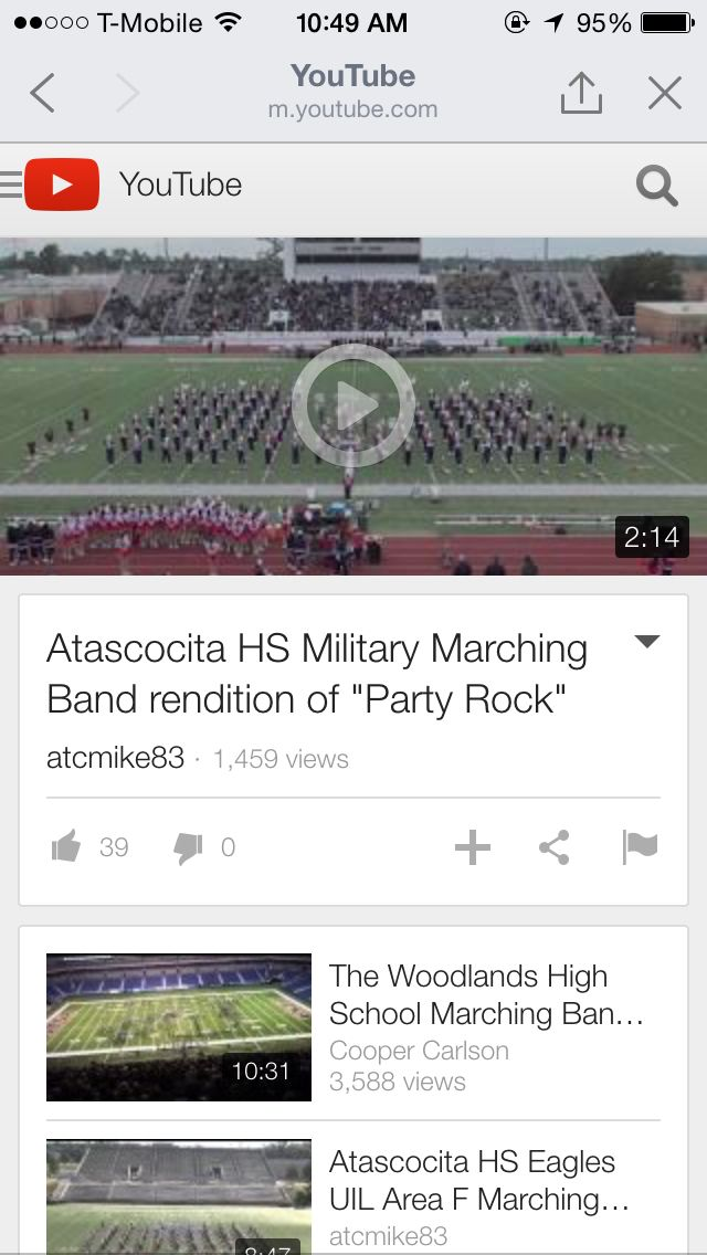 The link: https://m.youtube.com/watch?sns=fb&v=s_B84ooiN6o  My second family. Atascocita High School's Marching Band #werk