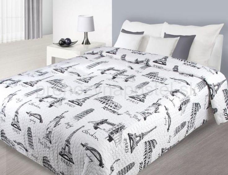 Prehozy na postele bielej farby s potlačou svetových miest