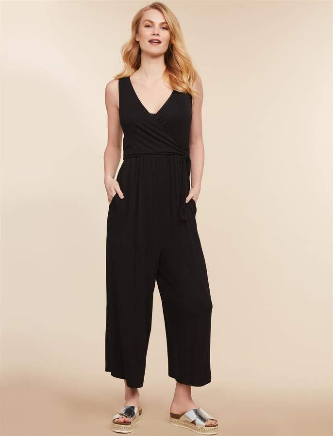 ce440fa7d68e7 Jessica Simpson Motherhood Maternity Pull Down Knot Front Nursing Jumpsuit
