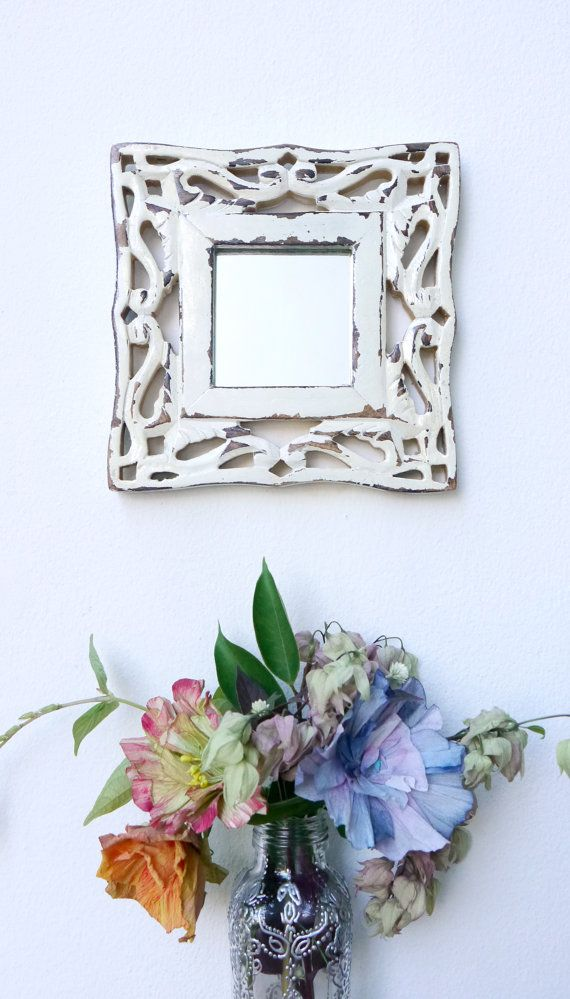 Off white and gold wall mirror carved wooden frame by FuLoves