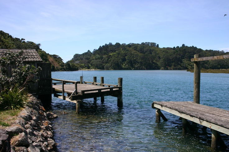 Wharf at Whangapoua Harbour.   Whangapoua is a 2 hours 45 minutes drive from Auckland.