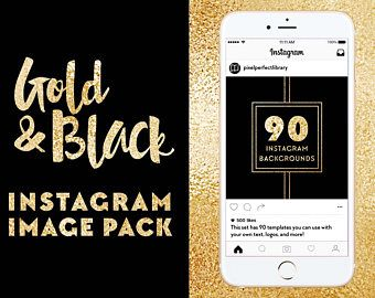 90 Gold and Black Instagram Backgrounds - JPG files - Canva Friendly Instagram Image Pack