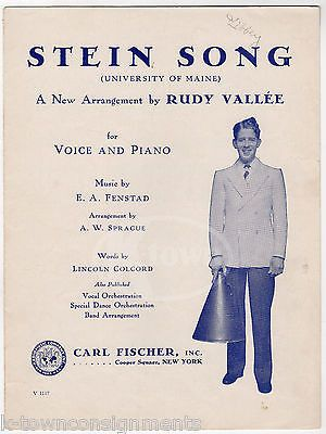 UNIVERSITY OF MAINE STEIN SONG RUDY VALLEE VOICE & PIANO SHEET MUSIC 1930