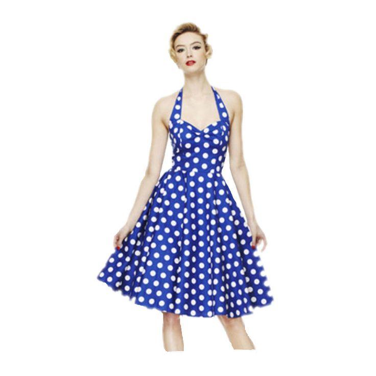 Women Vintage Polka Dot 50s Swing Dress 2016 Vestido Ladies Elegant Evening Party Halter Sexy Backless Rockabilly Dresses