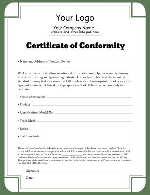 Certificate of Conformity for use in any industry that has met appropriate standards. Can be adjusted to fit your needs. Try this Free Template now using the PageProdigy Cloud Designer: www.pageprodigy.com/design?template=598&size=2550x3300&theme=Business&source=pinterest #CertificateTemplate #Print #Certificate #Design #CertificateOfConformity