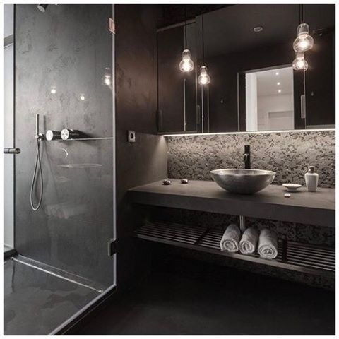 washroom inspiration: slate grey and vessel sinks // @pinterest  #slate #black #shower #washroom #restroom #bathroom #wood #sink #vesselsink #vanity #tinyhouse #tinyhome #architecture #design #tinyhousemovement #livingsmall #livingtiny #gosmall #minimalism #micro #design #contemporary #modern #green #pnw #pacificnorthwest #inspiration #inspo #pinterest
