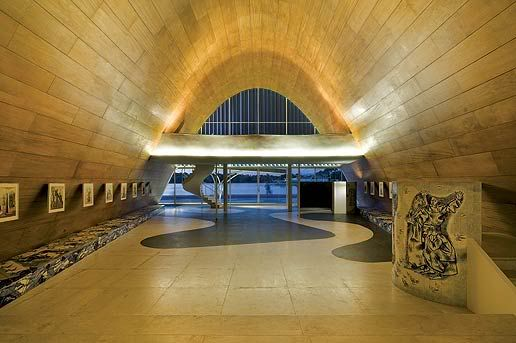 Igreja da Pampulha by Oscar Niemeyer, Belo Horizonte - paintings by Candido Portinari, view towards the front door.