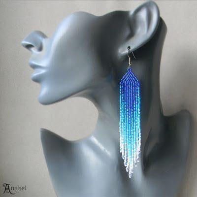 Длинные серьги из бисера - синий / голубой / белый