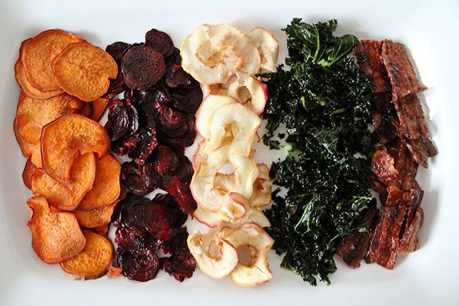 5 recipes for crispy alternatives to the potato chip: sweet potato chips, beet chips, apple chips, kale chips and bacon chips