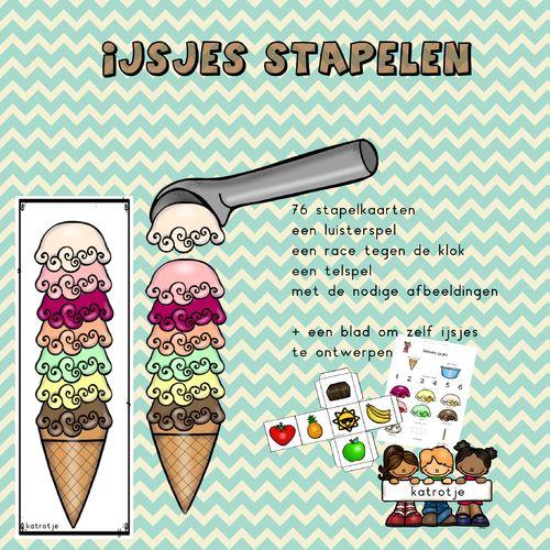 stapelen met ijsjes + nog meer spelletjes rond ijsjes van katrotje  Leuk voor in de kleuterklas of thuis.