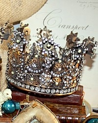 Large French Reproduction Gilded Jeweled Santos Religious Crown-antique,gold, floral, saint, cathedral,gilt,holiday,pearl,church,prong set