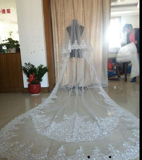 Best Selling Luxury Real Image Wedding Veils Three Meters Long Veils Lace Applique Crystals Two Layers Cathedral Length Cheap Bridal Veil Birdcage Veil Hairstyles Cathedral Lace Veil From Huifangzou, $44.37| Dhgate.Com