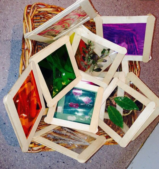 DIY Light Table Squares made using popsicle sticks!