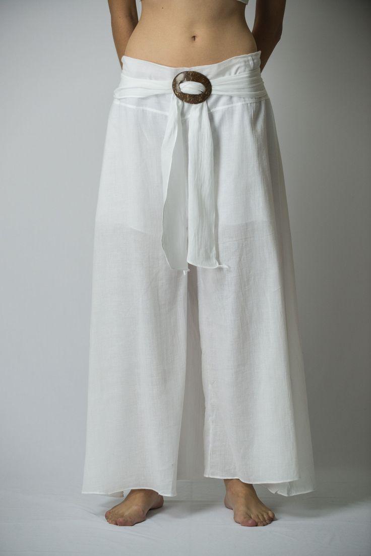 Women's Thai Harem Palazzo Pants in Solid White – Harem Pants