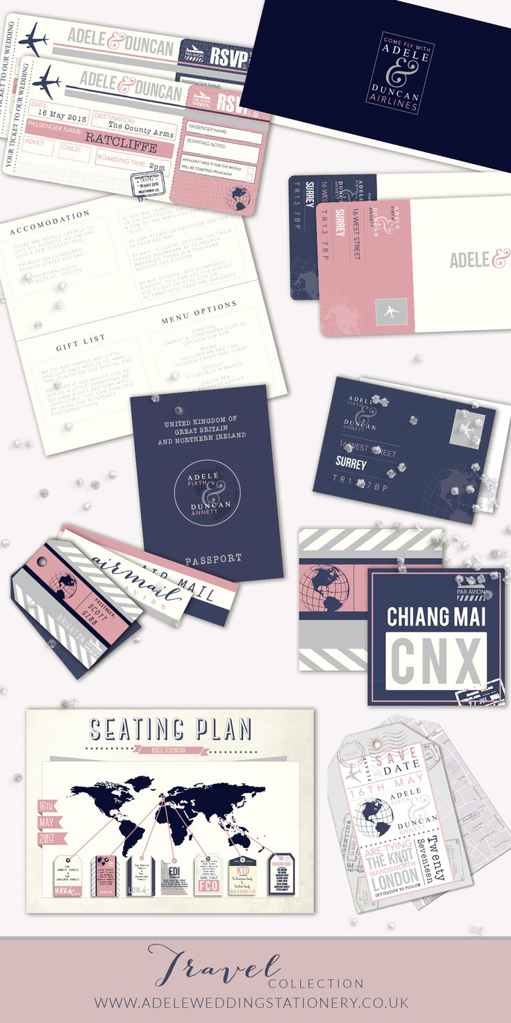 The Wedding Travel Collection. Wedding stationery suit including wedding invitations, save the date cards, rsvp cards, seating plan, table names, place settings, passport order of service and additional information folder