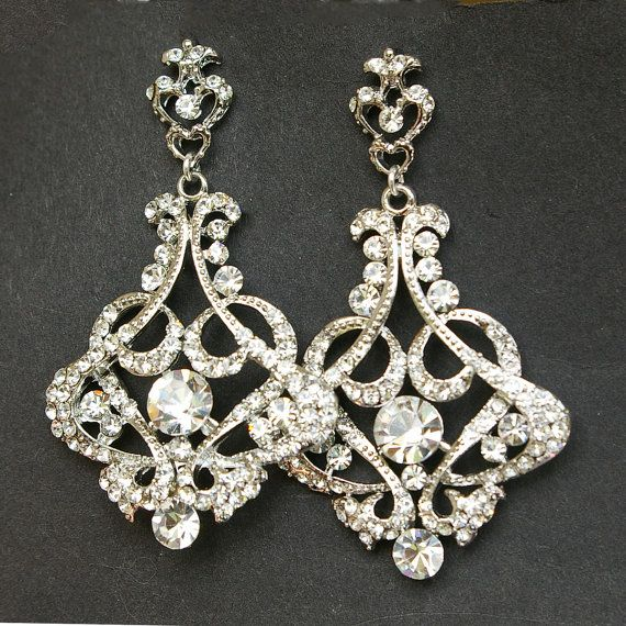 Rhinestone Chandelier Earrings Crystal Earrings by luxedeluxe, $75.00