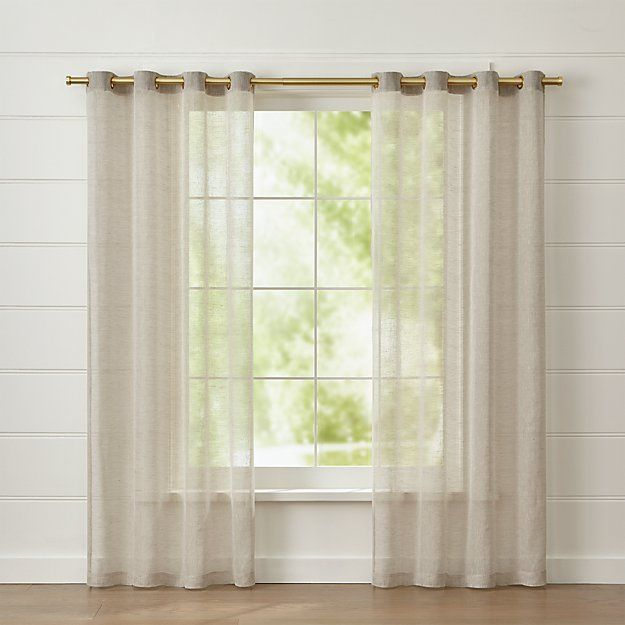 Natural Linen Sheer 52x96 Curtain Panel Panel Curtains Curtains