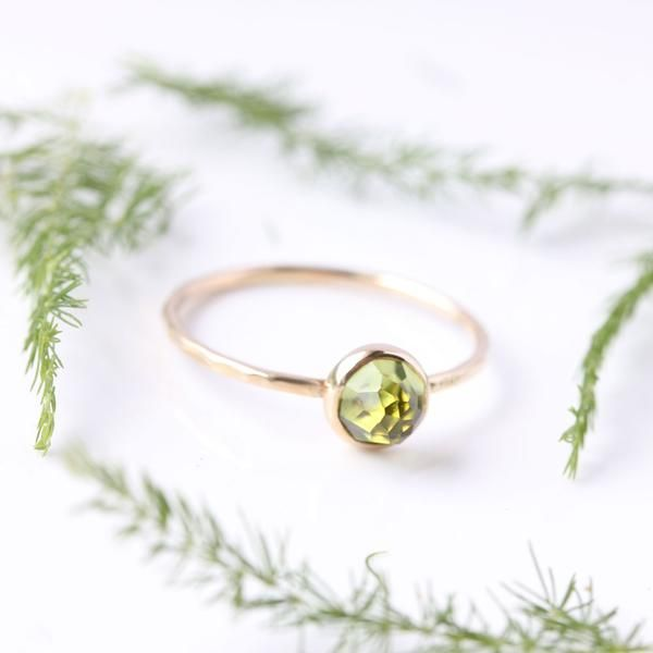 Belinda Saville Handcrafted Jewellery - Rose Cut Peridot & 14k Gold Ring - August birthstone - stacking ring - fine jewellery - spring - new growth