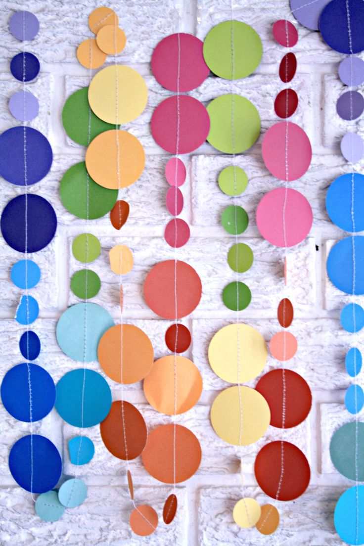 Could make this for the nursery  paper circle garland ... pom dot party decor banner .... 12 feet. $14.00, via Etsy.