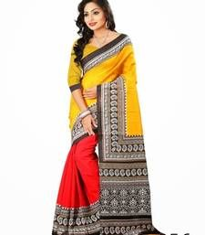 Buy multicolor  Printed art-silk saree with blouse bhagalpuri-silk-saree online