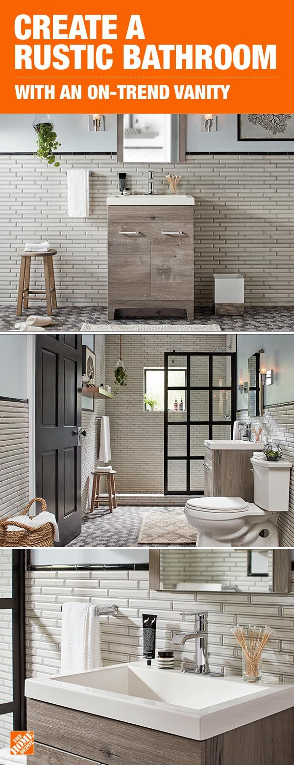 Create a rustic bathroom with this simple and on-trend vanity. The minimal design, surrounded by a mix of natural and industrial decor creates a calming atmosphere you might not want to leave. Shop this vanity and faucet at The Home Depot.
