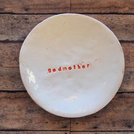 Godfather or Godmother 6 inch cookie plate in vintage coral.