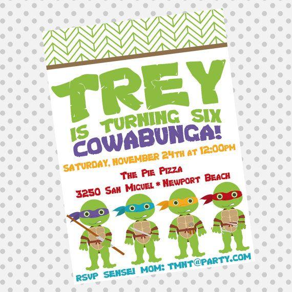 Custom Birthday Party Invite  TMNT by aprettylittleparty on Etsy, $12.00