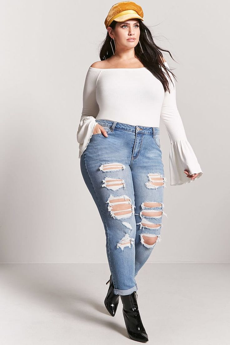 """Forever 21+ - A pair of jeans featuring a distressed front, five-pocket construction, and zip fly. Content + Care - 99% cotton, 1% spandex  - Machine wash cold  - Made in China  Size + Fit - Model is 5'10"""" and wearing a Size 14  - Inseam: 31""""  - Waist: 38""""  - Rise: 11"""""""
