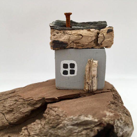 Little Grey Wooden House Driftwood Art Coastal Decor