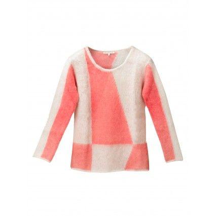 TWO-TONE SWEATER #pink #lautrechose #patterns #fashion