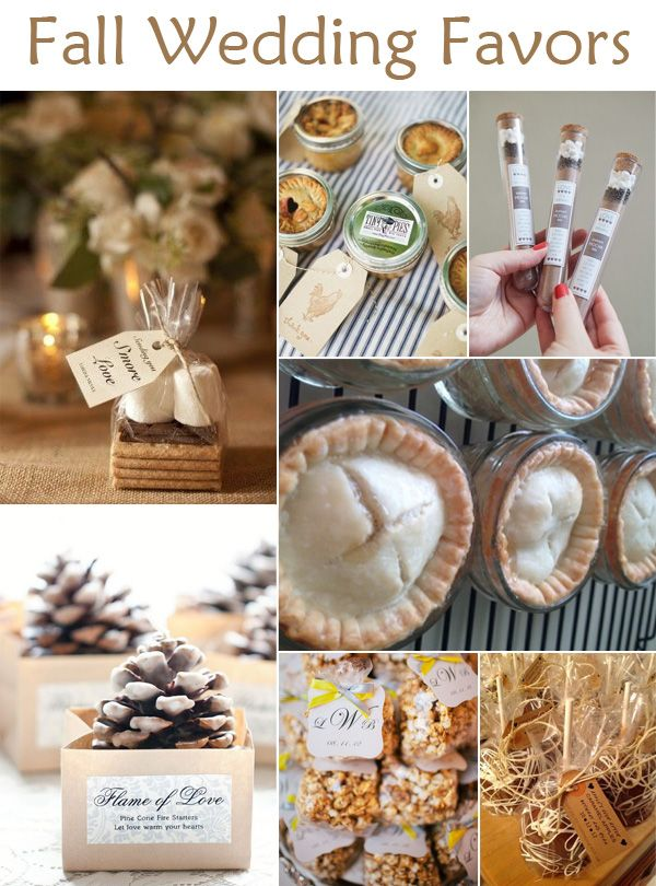 Great fall wedding favor ideas for autumn brides, and other inspiration, perfect for backyard affairs.