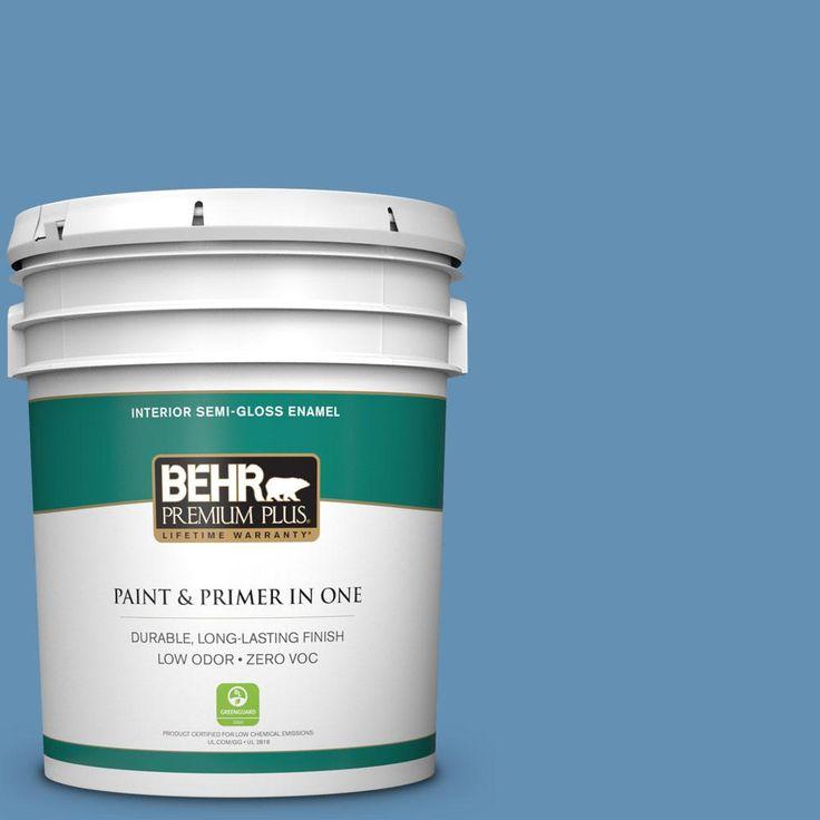 Behr Premium Plus 5 Gal M510 4 Brittany Blue Semi Gloss Enamel Interior Paint Interior Paint Exterior Paint Premium Plus