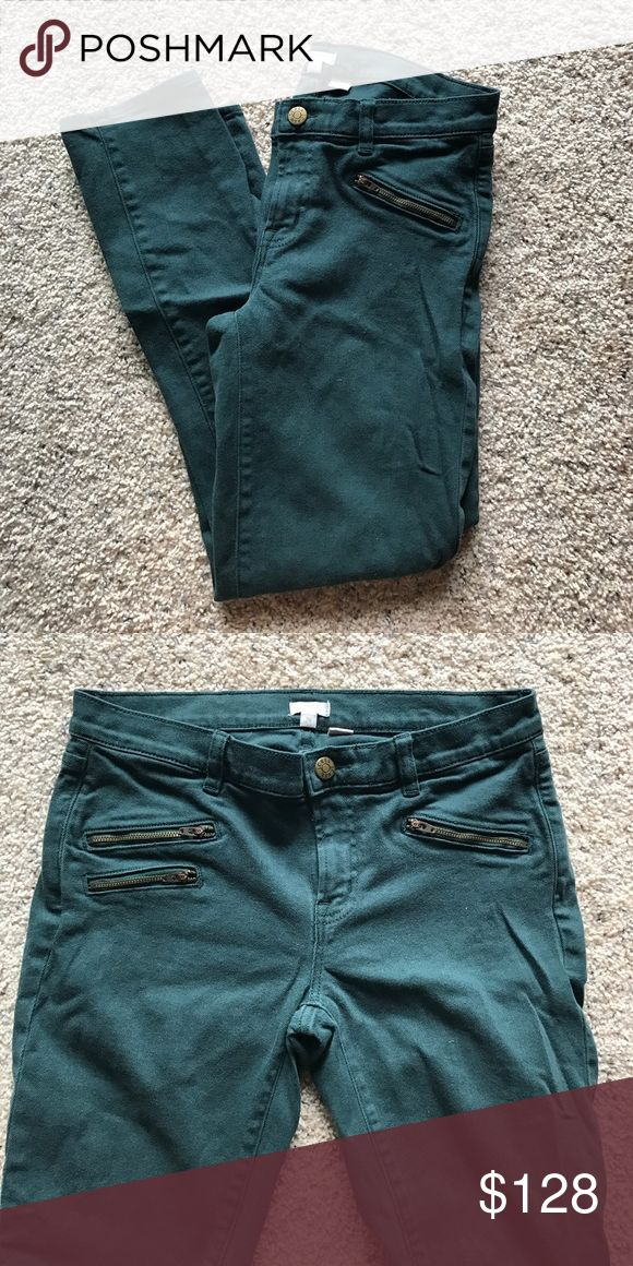J Crew Colored Denim Cute Zip detail at the pocket! Have some stretch! Kind of an emerald color! J. Crew Pants