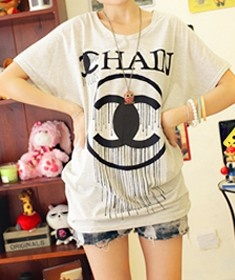 Light Grey Round Neck Short Sleeve Letters Print Polyester T-Shirt