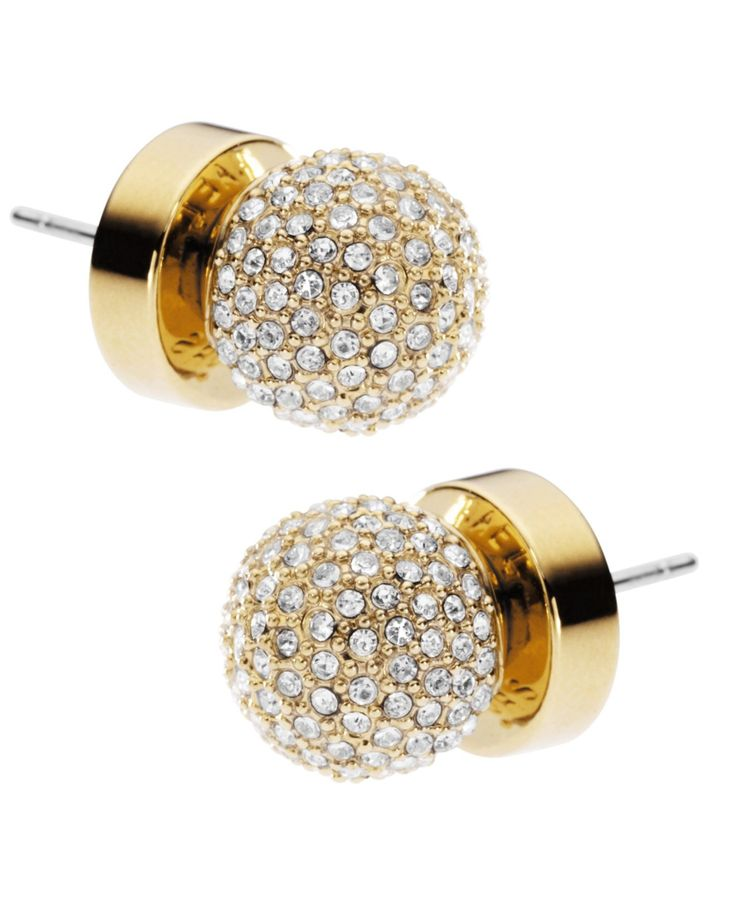 Michael Kors Earrings, Gold Tone Pave Fireball Stud Earrings. Need these to match my watch!