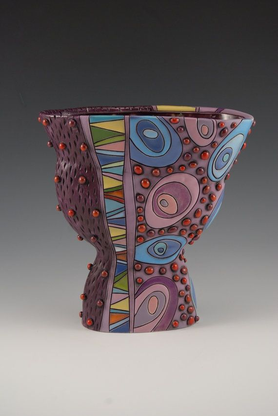 "Whimsical OOAK Handmade Purple Vase | D's:7 1/2"" x 7 1/2"" x 3 3/4"" by 'natalyasots' on Etsy ♥≻★≺♥"