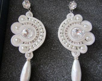 Wedding white soutache earrings