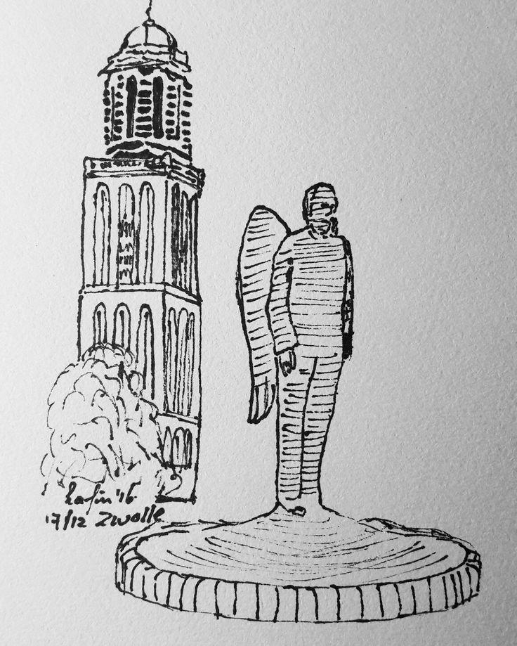 gabriel in zwolle de peperbus en engel illustratie