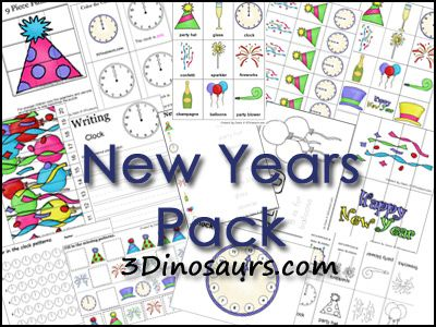 Free New Years Printable Pack (50-Pages!) Go to 3 Dinosaurs to download this free New Years Printable Pack.