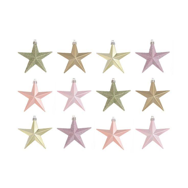 Shatterproof Christmas stars 10 cm romantic mix 12 pieces