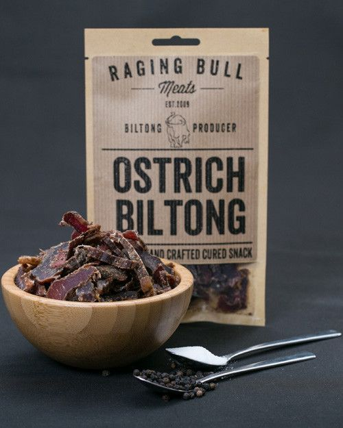 #Ostrich biltong, like beef biltong, is made using only the #choicest cuts of meat. The meat is #spiced before drying -  it's usually dried out in cold air (rural settings), or cardboard or wooden boxes (urban), although many producers dry their biltong using climate-controlled drying rooms. It's a delicious charcuterie as it has a slightly gamy taste, which immediately sets it apart from beef biltong. #what is charcuterie #South Africa #biltong #game biltong #regional food #gourmet food