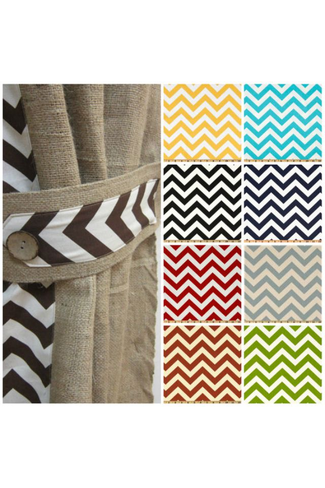 Chevron burlap curtains. Adding a contrasting fabric is a great idea!
