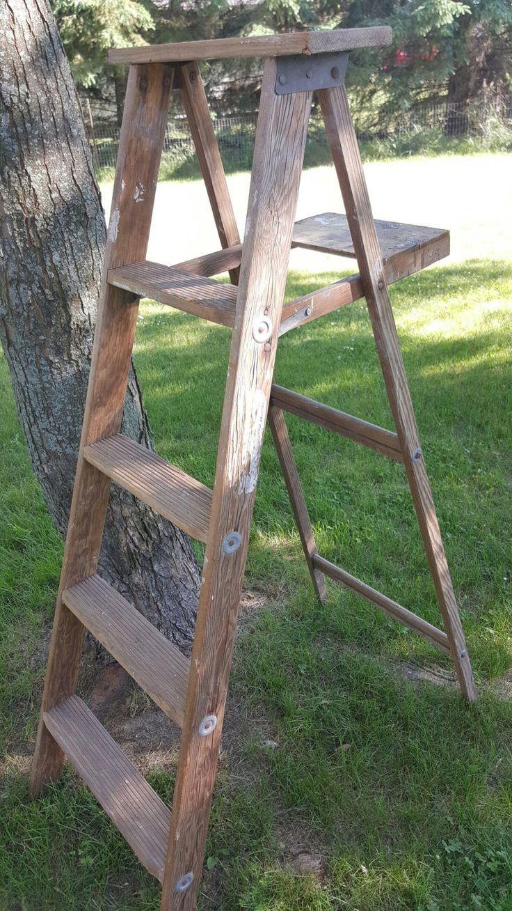 Vintage Painters Ladder, 4 Rung Ladder, Tall Ladder, Old Ladder, Vintage Wood Ladder, Farmhouse Antiques, Wedding Decor, Folding Ladder 1 by ANTFOUNDANTIQUES on Etsy