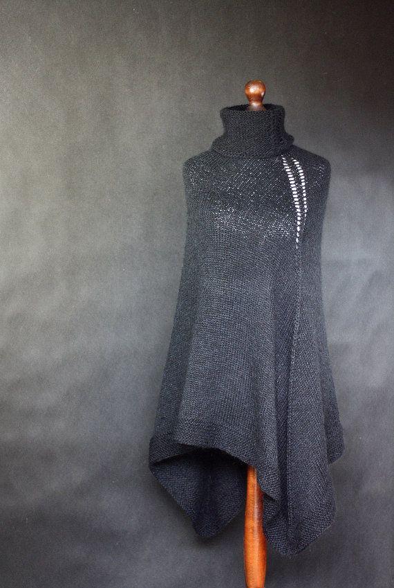 Black poncho women poncho hand knit poncho knit by KnitwearFactory