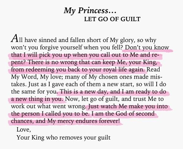 let go of guilt. What a beautiful love letter! The Bible really is God's love letter to the world!